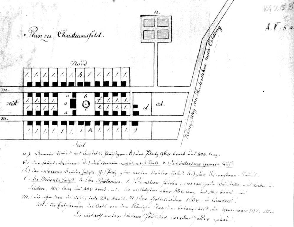 Tegning som viser planerne for de første bygninger og gader i Christiansfeld. Tegningen er udført af Johann Schlegel og er formentlig den ældste plan for byen.